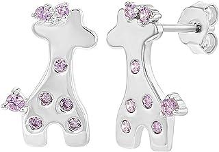 Plaqu/é Rhodium Enfants Filles Cochon Boucles d/'oreilles In Season Jewelry Tiges poussettes s/écurit/é /à vis Rose Zircone Cubique