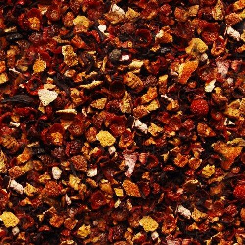 Früchtetee lose Sylter Früchtegarten Hagebutten, Apfel, Hibiskus, Orangen, Zitronen, Erdbeer Früchte Tee feine Erdbeer-Rotfrucht-Note 100g
