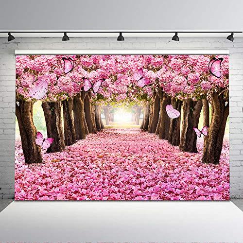 Avezano 2.4*1.8m Telón de fondo de árbol de flor rosa Mariposa Fondo de fotografía floral Bosque encantado Fondo de primavera Niños recién nacidos Bebé Fiesta de cumpleaños Banner