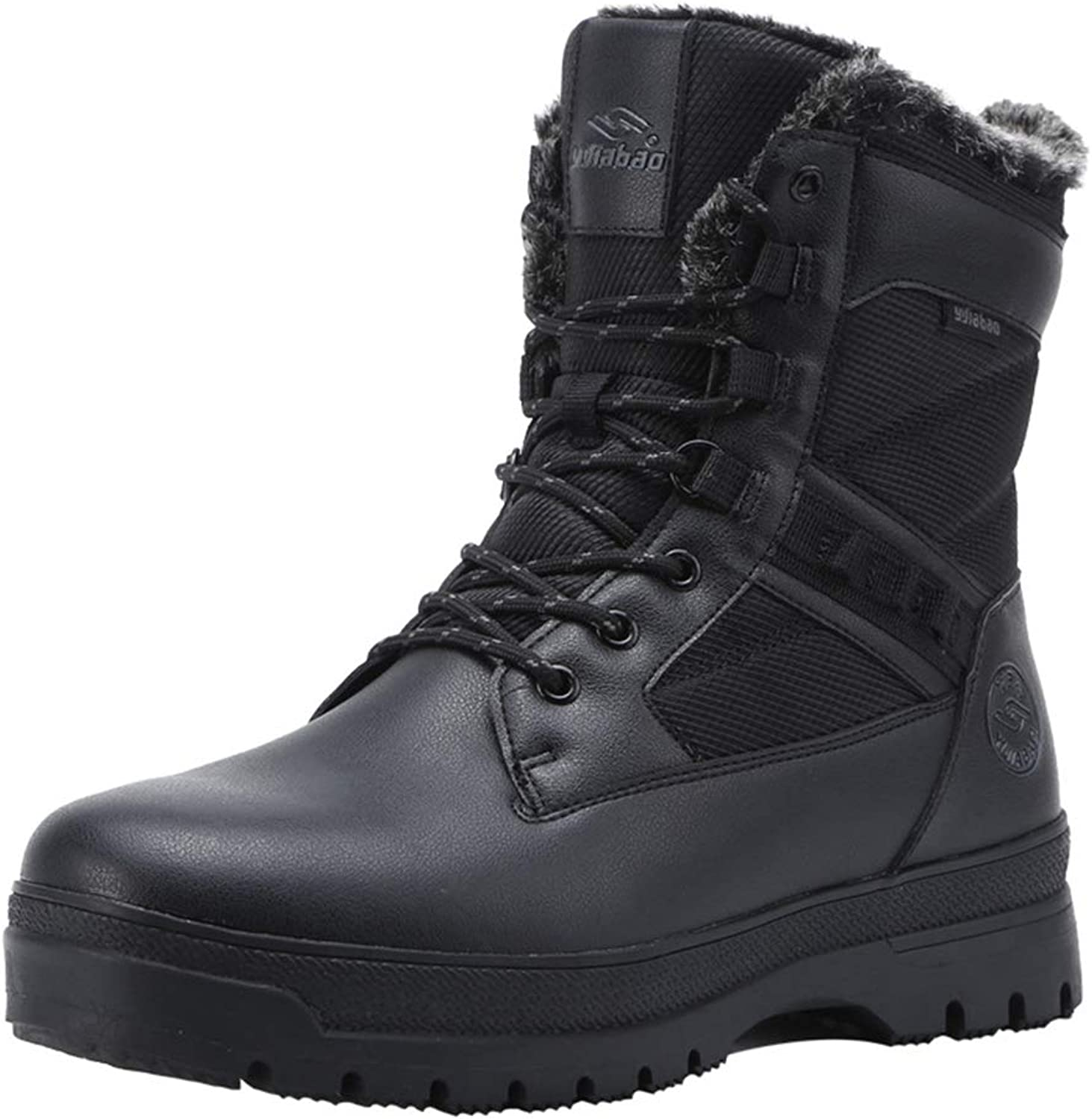 Men's Combat Boots Winter New Non Slip Outdoor High-Top shoes Plus Velvet Wear-Resistant Camping Hiking shoes,Black,43