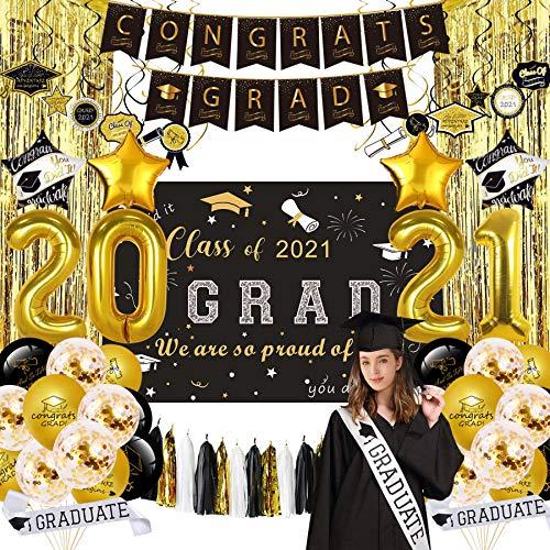 NAIWOXI Graduation Party Supplies 2021 - Graduation Decorations Including Congrats Grad Banner, Hanging Swirls, Graduation Backdrop, Sash, Balloons, Foil Curtain, Paper Tassel for Grad Decorations