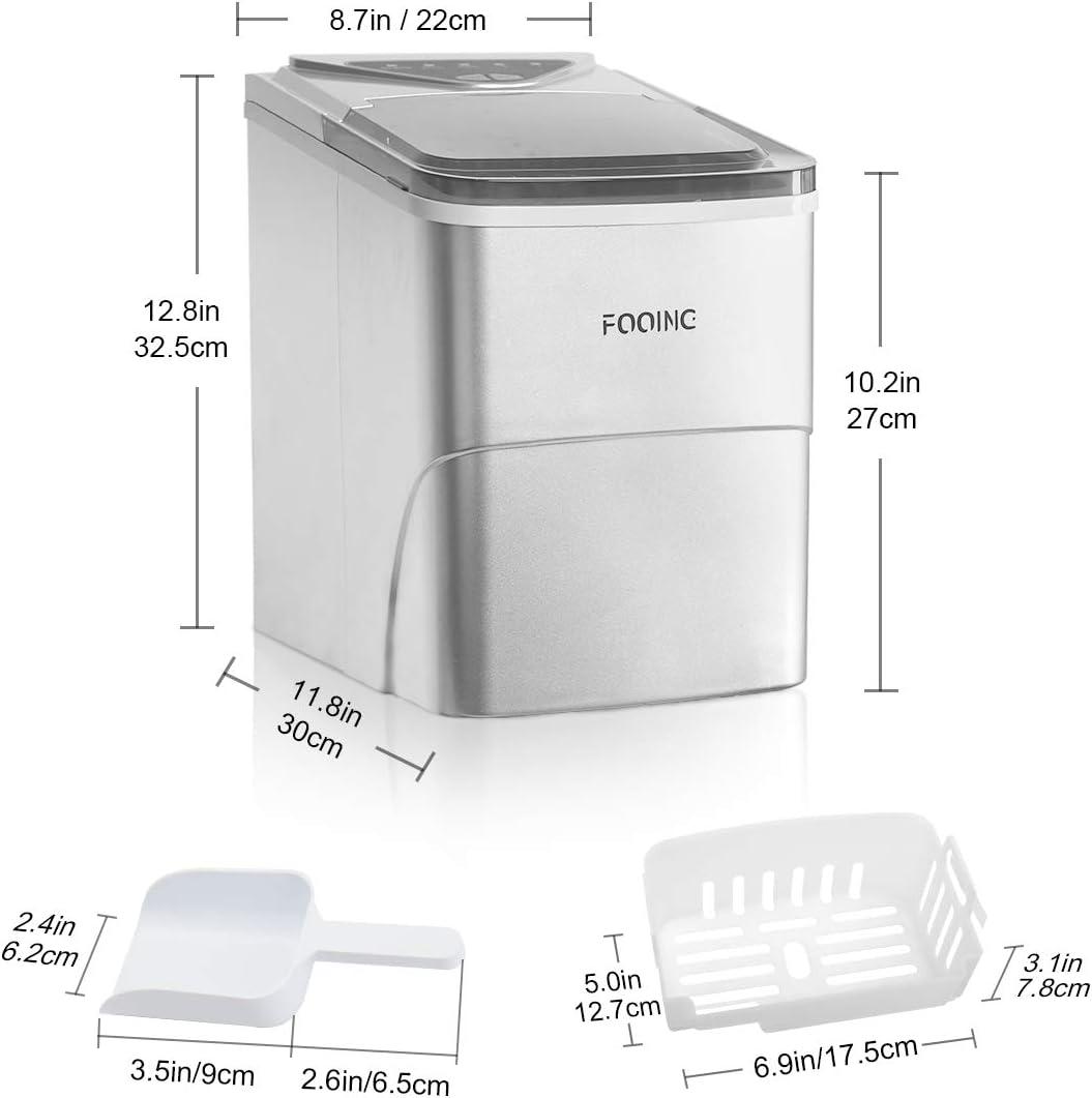 Ice Cube Maker FOOING Arbeitsmaschine f/ür Ice Machine Maker In 6 Minuten bereit 2L Eismaschine mit Eisschaufel und Korb LED-Display Eismaschinen f/ür Home Bar Kitchen Office