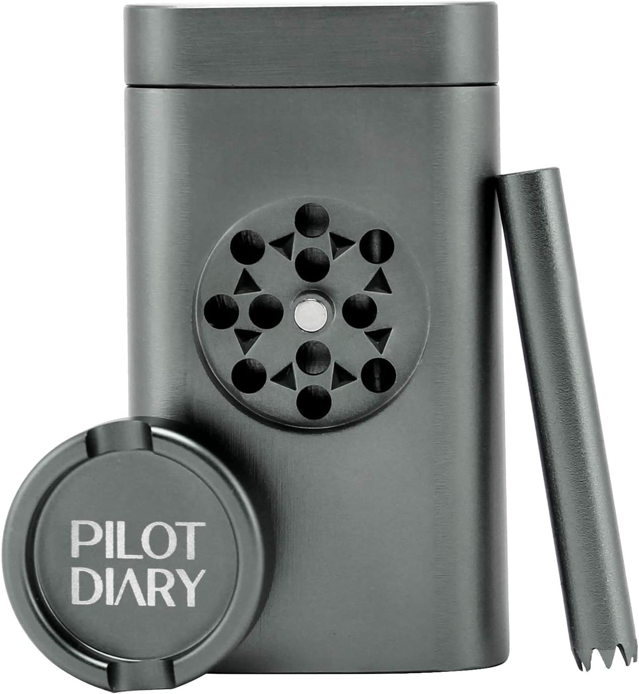 PILOTDIARY Portable Storage Box Container and Grinder with Large Capacity Magnetic Lid Design Black