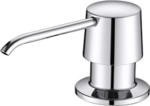 Lonheo Soap Dispenser for Kitchen Sink, Countertop Kitchen Sink Soap Dispenser Refill from the Top, Brass Pump Head 17 OZ Large Soap Bottle, Built in Sink Soap Dispenser for Bathroom Kitchen, Chrome