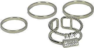 طقم خواتم كوري عدد 4 قطع لأطراف الأصابع باللون الفضي