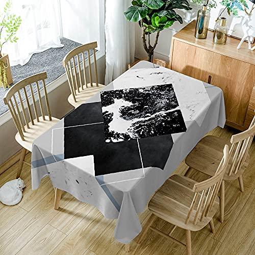 XXDD Mantel de Simplicidad Moderna Negro Blanco patrón de Costura geométrica a Prueba de Polvo Mantel Lavable Cubierta de Mesa de Comedor A12 140x180cm