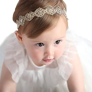 RQJ Baby Girl Stretchy Diamond Gold Headbands Lace Flower Princess Hair Crown Wreath for Infant Girl Head Band