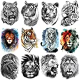 YAKAGO 22 Sheets Large Tiger Lion Temporary Tattoos For Men Women, Fake Body|Arm|Shoulder|Chest Skull Snake temporary Tattoo stickers