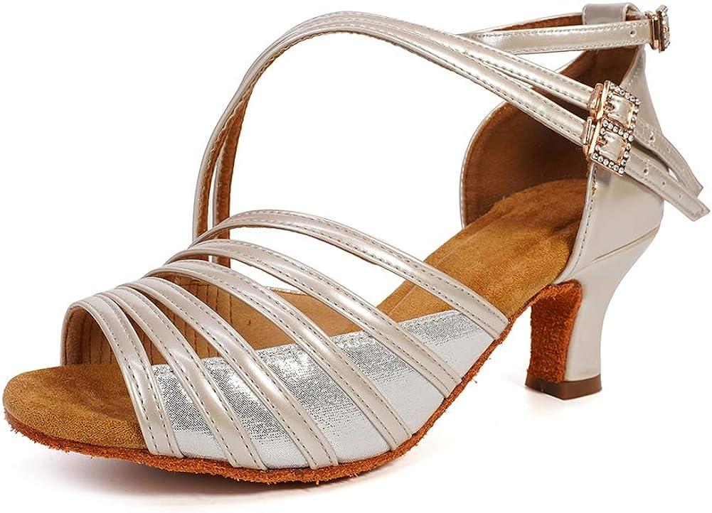 JUODVMP Latin Dance Shoes Women Latin Ballroom Dance Shoes Women Performance Social Wedding Dance Shoes,Model VS-7012
