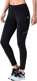 Pantalones de Forro Polar Mujer Yoga Pilates Mallas Deportivas Leggings Largos Bolsillos Elástico Transpirable Training Running Fitness Negro