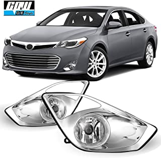 CPW Replacement for [2013-2015 Toyota Avalon] Clear Lens Bumper Driving Fog Lights Pair + Wiring + Switch Kit