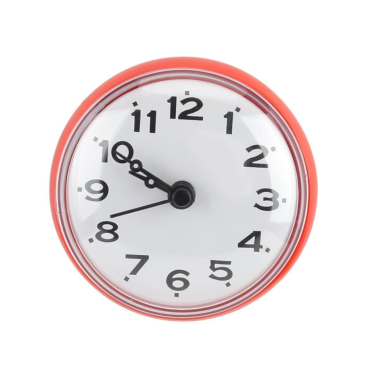 側一節摂氏防水時計 ウォールクロック 強力 吸盤式 ミニサイズ 防水 バスルームクロック バスルーム時計 ウォータープルーフ時計 お風呂用品 キッチン用(レッド)