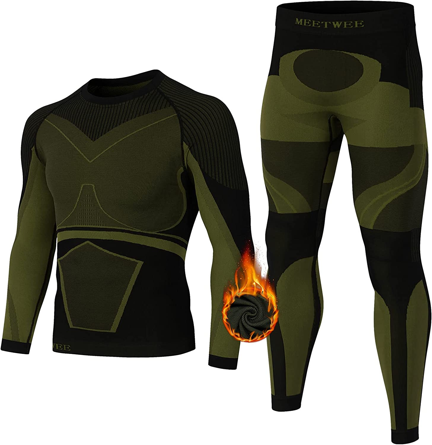 GOROBOY Men's Thermal Underwear, Cold Weather Base Layer Top & Bottom Set Quick Dry Winter Compression Long Johns Heated Gear