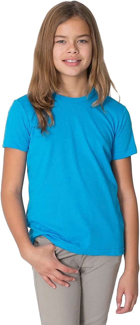 American Apparel Youth Poly-Cotton Short Sleeve Crew Neck-Neon Heather Blue
