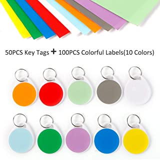 InterUS Round Key Tags with Split Ring,Colorful Label,50 Pack Label Tags and 100 PCS Label Paper
