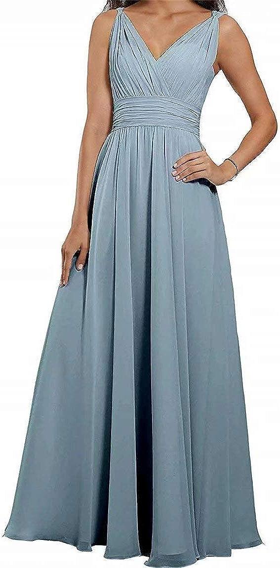 Women's V-Neck Chiffon Bridesmaid Dresses A-Line Formal Elegance Evening Gown