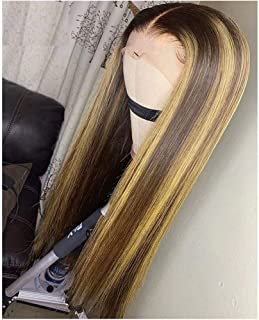 QUINLUX HAIR 150 Density #4/27 Ombre Highlight Color Lace Front Human Hair Wigs With Baby Hair for Black Women 13X6 Deep Part Straight Brazilian Remy Hair Lace Wigs