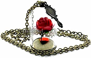 Beast Princess Belle Necklace Jewelry Merchandise - Rose Enchanted Glass Necklaces Pendant Red for Women
