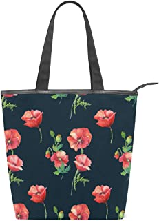 ISAOA Große Einkaufstasche aus Segeltuch, Mohnblumen-Blumenmuster, Marineblau, Handtasche für Mädchen und Frauen