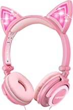 Isightguard Kids Headphones, Wired Headphones On Ear, Cat Ear Headphones with LED for Girls, 3.5mm Audio Jack for Cell Pho...