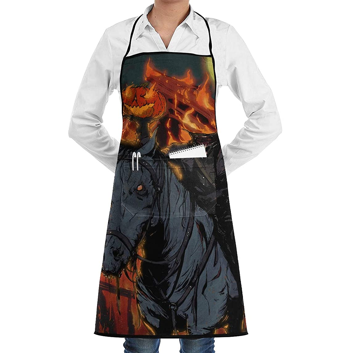 Headless Horseman Horse Fire Halloween Paiting Utility Activity Toolbelt Work Best Prime Supply Customize Smocks Adjustable No-tie Full Cooking Apron with Pockets for Kids Teacher