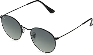 Ray-Ban RB3447N Round Flat Lenses Metal Sunglasses, Black/Grey Gradient, 53 mm