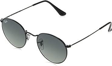 RAY-BAN RB3447N Round Flat Lenses Metal Sunglasses, Black/Grey Gradient, 53 mm