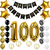 Happy 100th Birthday Banner Balloons Set for 100 Years Old Birthday Party Decoration Supplies Gold Black