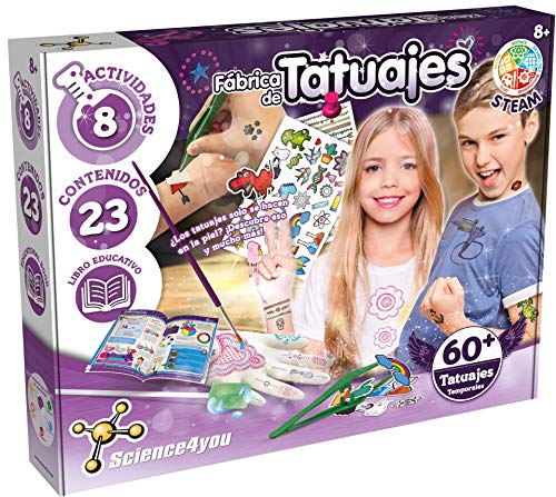 Science4you-5600983615045 Fábrica 60 Tatuajes Temporales con Ingredientes Naturales-Regalo Original para Niñas, Multicolor (80002225)