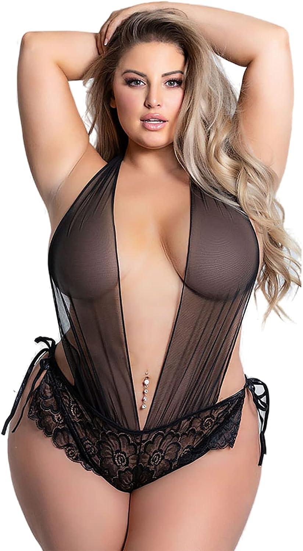 DeSeeni Plus Size Women Deep V Halter Lingerie Sexy Sheer Mesh Bodysuit Lace Teddy One Piece
