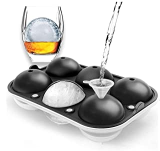 VARWANEO Ice Ball Maker Mold,2.5'' Large Sphere ice mold,Silicone round ice Cube Tray with Lid for Whiskey,Cocktail and Sc...