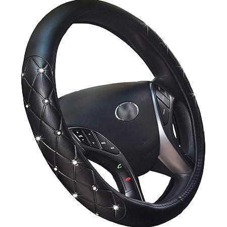Cystal Steering Wheel Cover, Leather Steering Wheel Cover Bling Bling Rhinestones Crystals Car Handcraft Steering Wheel Covers for Girls