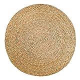 Vivaraise Tapis Rushy – diamètre 120 cm - revêtement de Sol – Tapis Rond en jonc de mer – matière Coco sisal - 100% Naturel – natte en Fibre végétale – Style Boho – Tendance Ethnique