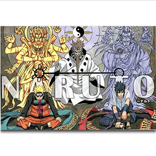 tgbhujk Naruto Sasuke Hagoromo Indra y Ashura Hot Japan Anime Arte de la Pared Pintura Impresión en Lienzo de Seda Cartel Decoración del hogar 40X60Cm Sin Marco