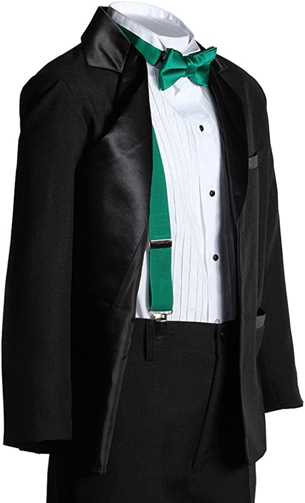 Kids Popular brand Two Button Notch Tuxedo with Emerald Green Bow Ti Suspender Online limited product