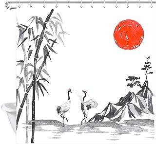 Japanese Shower Curtain, Japan Fuji Mountain Sakura Flowers Crane Bird Sunset Sun Japan Traditional Ink Illustration Bath Curtains, Fabric Shower Curtain for Bathroom Accessories 12PCS Hooks, 69X70IN