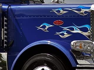 East Coast Vinyl Werkz No. 12 Semi Truck Flame Decals - Chrome Tribal - 12 pc. Set - Peterbilt 379 389 Kenworth W900 W900L Freightliner Classic XL