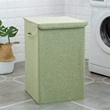 Clothes hamper Cotton Linen Laundry Basket With Cover Large Capacity Bathroom Storage Basket Household Collapsible Laundry...