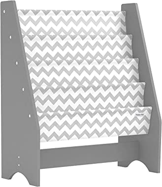Pidoko Kids Bookshelf, Grey with Chevron | Wooden Children's Sling Bookcase with Pocket Storage Book Rack - Canvas Gray