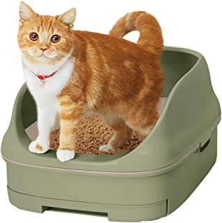 【Amazon.co.jp限定】 花王 猫用トイレ本体 ニャンとも清潔トイレセット [約1か月分チップ・シート付] オープンタイプ ウグイス&アイボリー 猫用