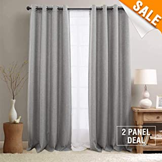 Linen Textured Thermal Insulated Grey 84 Inches Curtains Bedroom Window Panels Room Darkening Curtains Blackout Living Room 2 Curtains Panels