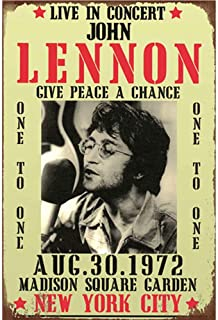 YOMIA 20x30cm Metal Signs Vintage Lennon Tin Signs Metal Movie Film Star Posters Wall Picture Prints Decorations Pub Home Bar Painting Metal Plates Collector Metal Signs -Give Peace A Chance