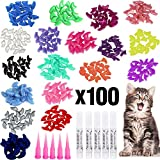 VICTHY 100pcs Cat Nail Caps, Colorful Pet Cat Soft Claws Nail Covers for Cat Claws with Gl...