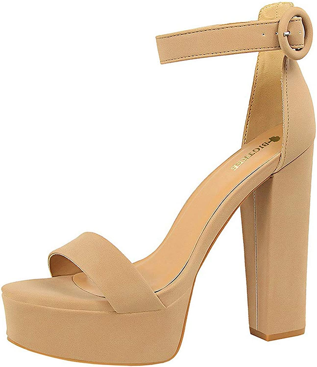 Sandals Thick with Thin high Heels Sexy Nightclub Women's shoes Waterproof Platform Open Toe Belt Buckle Sandals,B,37