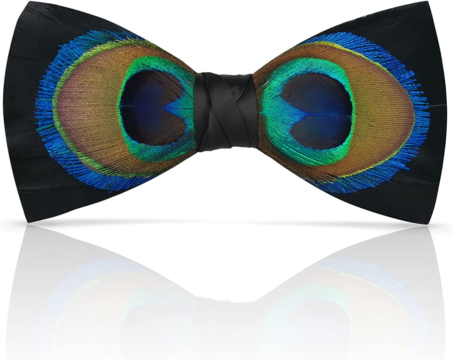 Lanzonia Feather Bow Tie for Men's Handmade Bowtie