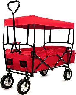 Deuba Carrito de Transporte Rojo Plegable con Techo Desmontable y 4 Ruedas de Caucho Carro de jardín