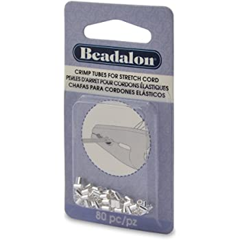 Amazon Com Beadalon 40 Piece Crimp Silver Plate Stretch Cord 1 0mm
