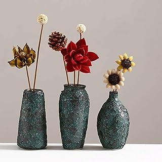 Decoracion Jarrones Creativo florero de la vendimia florero de cerámica Three-piece + flores secadas Floristería Salón Co...