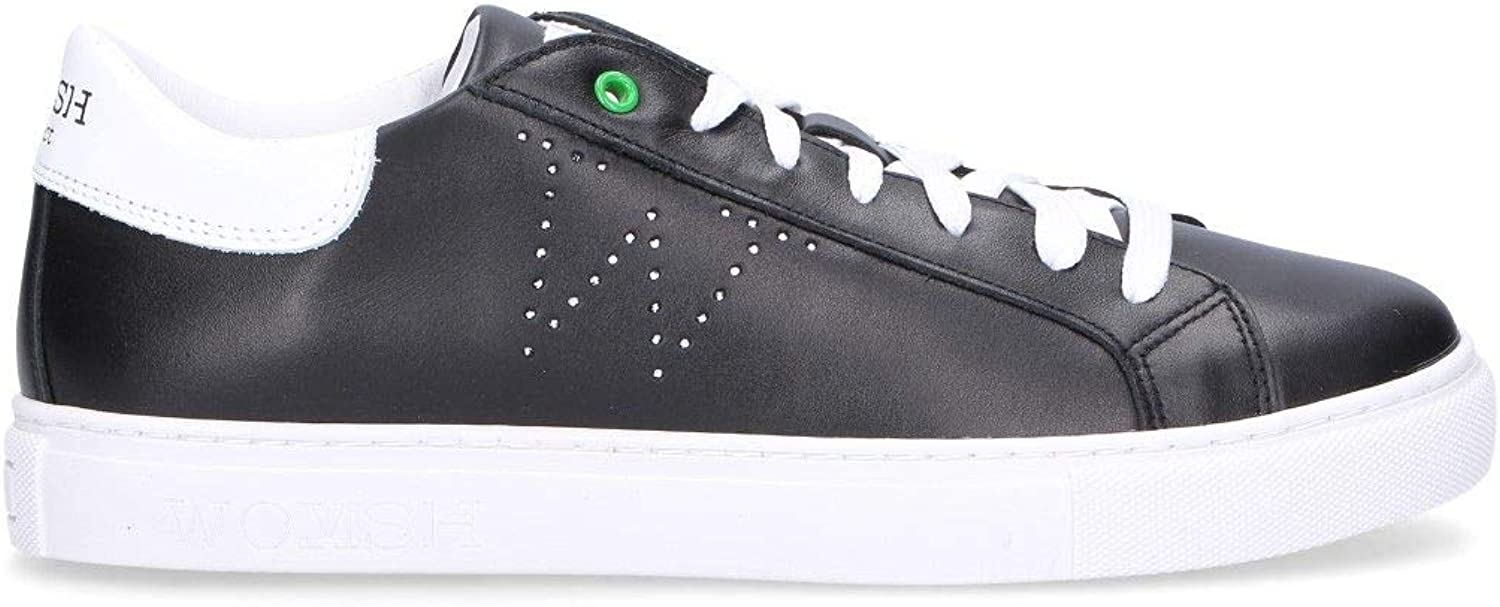 WOMSH Women's S280254 Black Leather Sneakers