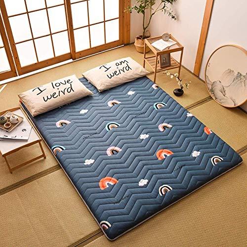 Alfombrilla para dormir, futón japonés tradicional con colchón de tatami, colchón plegable para dormitorio de estudiantes, fácil almacenamiento, cama de invitados enrollable D 150x200cm (59x79inch)